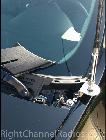 Chevy 2010+ CB Antenna Mount Installed Near Windshield