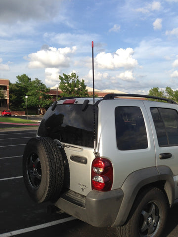 Firestik Door Jamb CB Antenna Mount Installed above Tail Light on Jeep