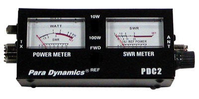 Dual Window 100-Watt CB SWR Meter Front View
