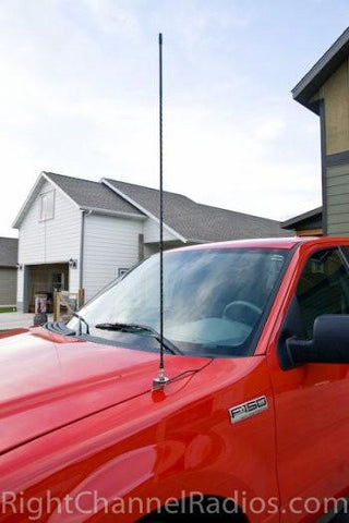 Ford F150 CB antenna hood mount with FireRing coax cable | Right Channel Radios