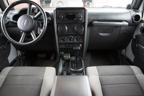 Compact External CB Radio Speaker Installed on Jeep Console