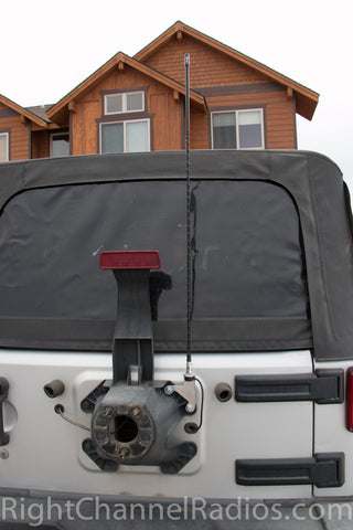 JK Jeep CB Antenna Kit Installed on Tire Carrier