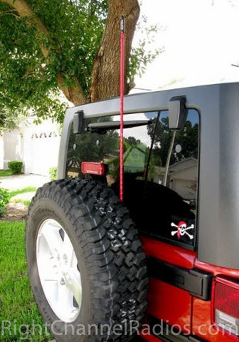 CB Antenna Installed on JK Jeep Spare Tire Carrier