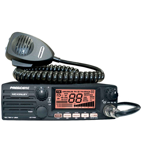 (President McKinley SSB CB Radio, Front view with microphone)