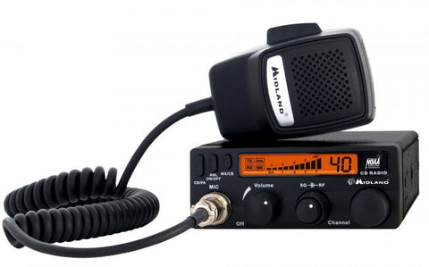 Midland 1001 LWX CB Radio Front View with Microphone