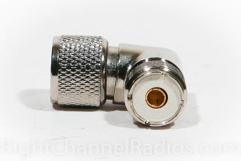 Right Angle Male-to-Female UHF Connector - Bottom View