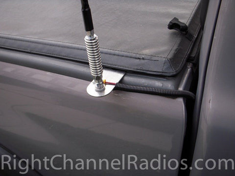 Stake-Hole Hangover CB Antenna Mount Installed Under Pickup Bed Cover