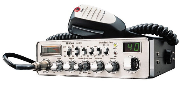 Uniden PC78 XL CB Radio Front View with Microphone