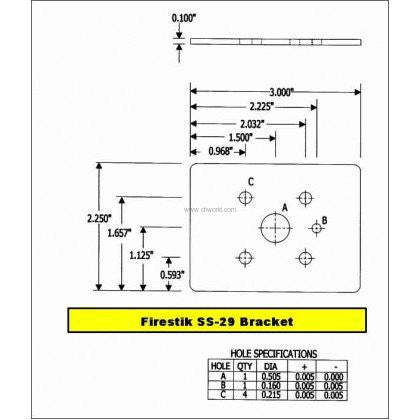 Firestik SS294A Stake Hole Mount Measurements
