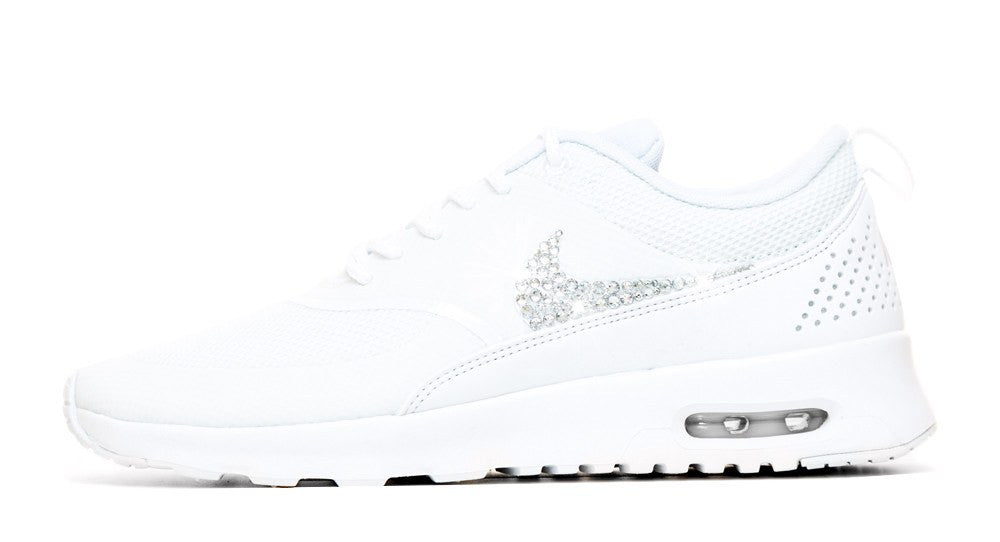 Nike Air Max Thea - Crystallized Swarovski Swoosh - Triple White - Glitter Kicks