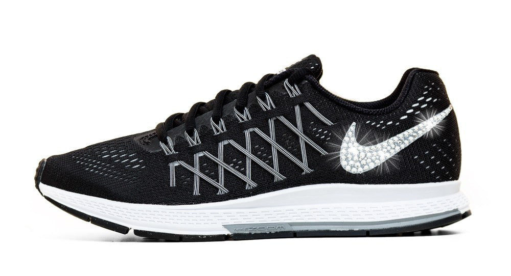Nike Air Zoom Pegasus 32- Crystallized Swarovski Swoosh - Black/White - Glitter Kicks