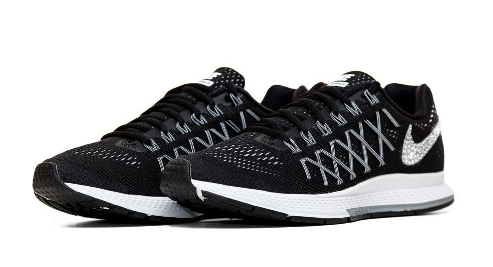 Nike Air Zoom Pegasus 32- Crystallized Swarovski Swoosh - Black/White - Glitter Kicks - 4