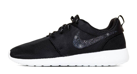 Nike Roshe One - Hand Customized Black Glitter Swoosh - Black/White