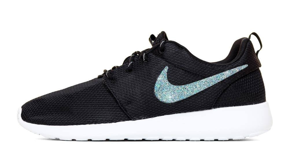 Nike Roshe One - Hand Customized Silver Glitter Swoosh - Black/White
