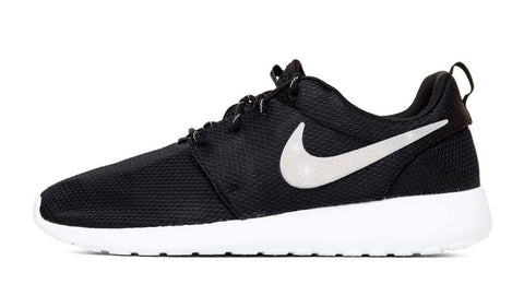 Nike Roshe One - Hand Customized White Glitter Swoosh - Black/White