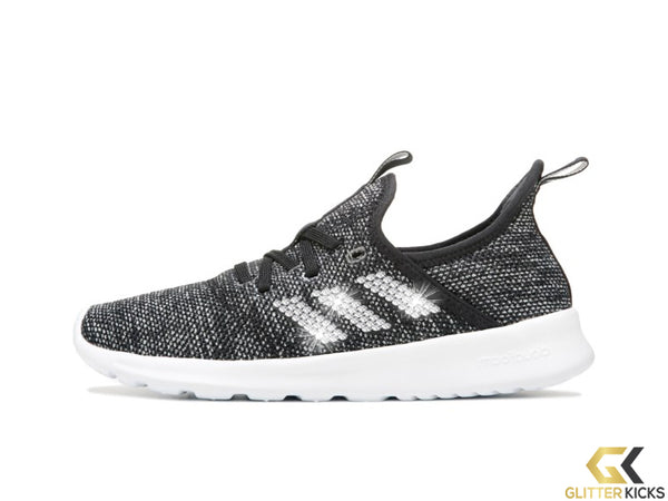 Women's Adidas Cloudfoam Pure Sneaker + Crystals - Black/White