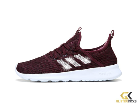 Women's Adidas Cloudfoam Pure Sneaker + Crystals - Burgundy/Black/White