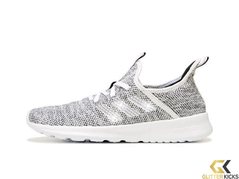 SALE - Women's Adidas Cloudfoam Pure Sneaker + Crystals - White/Black - Size 8