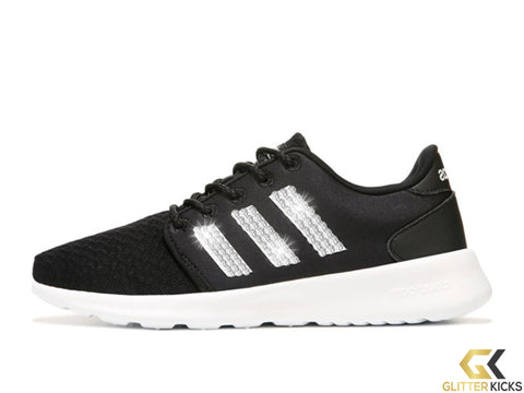 Women's Adidas Cloudfoam QT Racer + Crystals - Black/White