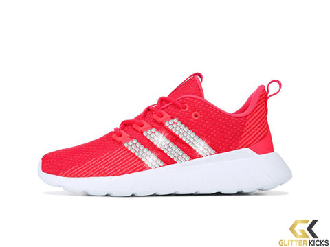 Women's Adidas Questar Flow + Crystals - Pink/Red