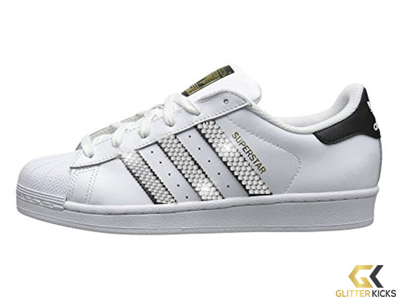 SALE - Women's Adidas Superstar + Crystals - Black/White - Outside Logo Only - Size 9