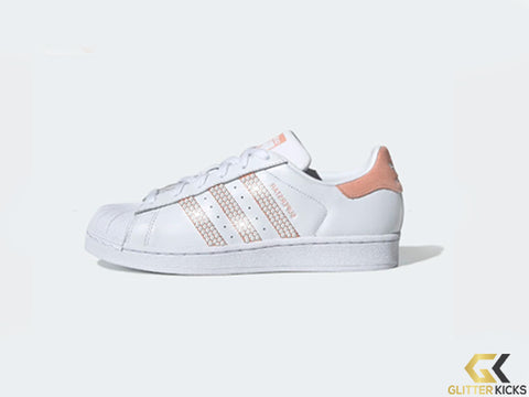 SALE - Adidas Superstar + Crystals - Cloud White/Glow Pink/Core Black - Outside Logo Only - Size 10