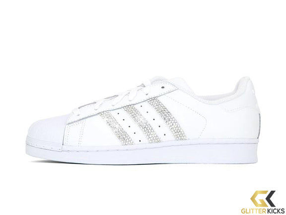 SALE - Adidas Superstar + Crystals - Triple White