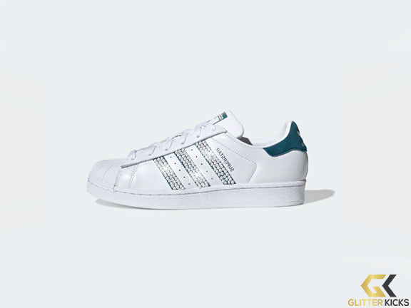 Womens Adidas Superstar + Crystals - Cloud White/Tech Mineral/Core Black