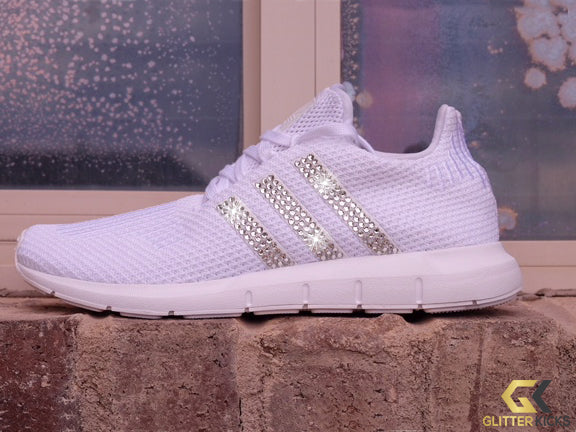 SALE - Adidas Swift Run + Crystals - White