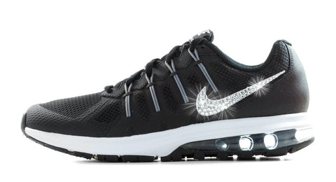 Nike Air Max Dynasty- Crystallized Swarovski Swoosh - Black/White - Glitter Kicks