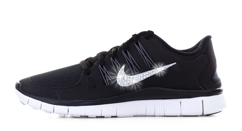 Women's Nike Free 5.0+ Running Shoes By Glitter Kicks - Hand Customized With Swarovski Crystal Rhinestones - Black/White/Silver - Glitter Kicks - 1