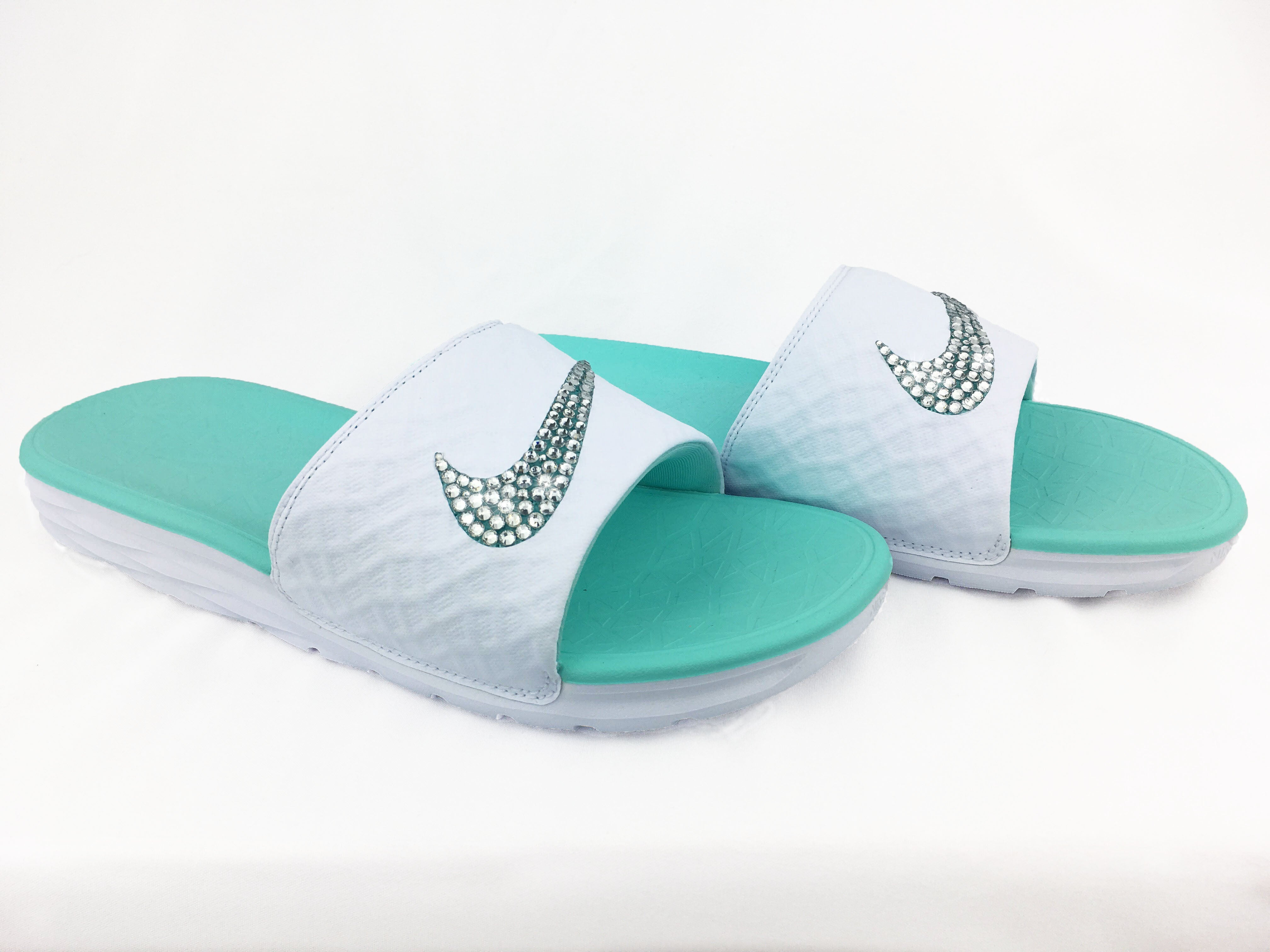 buy popular 606d5 1eac4 Nike Benassi Solarsoft Slide Sandal + Crystals - WhiteTeal