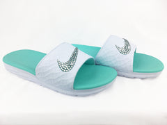 Nike Benassi Solarsoft Sandals / Slides + Crystals - White/Teal