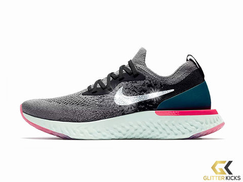 Women's Nike Epic React Flyknit + Crystals - Gunsmoke