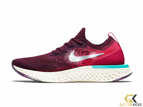 Women's Nike Epic React Flyknit + Crystals - Red Orbit