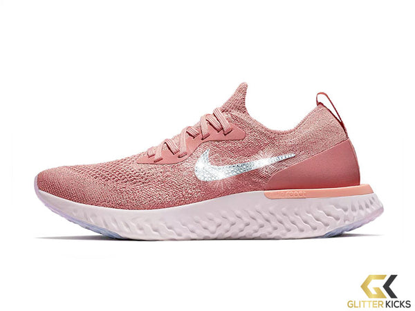 Women's Nike Epic React Flyknit + Crystals - Rust Pink