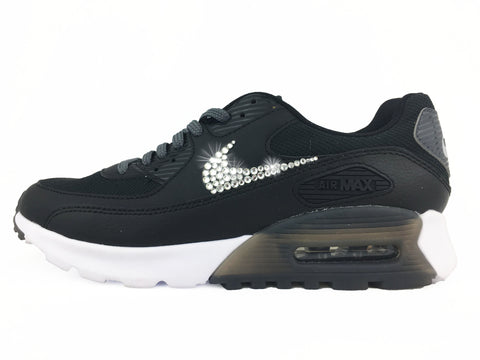 CLEARANCE - Nike Air Max 90 Ultra Essential + Hand Customized Swarovski  Crystal Swoosh - Black