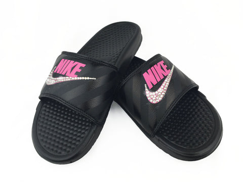 Nike Benassi Sandals / Slides + Crystals - Black/Vivid Pink