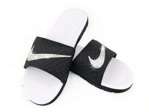 Nike Benassi Solarsoft Sandals / Slides + Swarovski Crystal Swoosh - Black/White