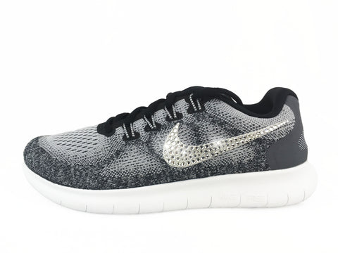 SALE IN STOCK - Nike Free RN 2017 + Crystallized Swarovski Swoosh- Wolf Grey/Black/White
