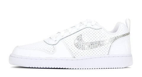 Nike Court Borough Low - Hand Customized Crystallized Swarovski Swoosh - White