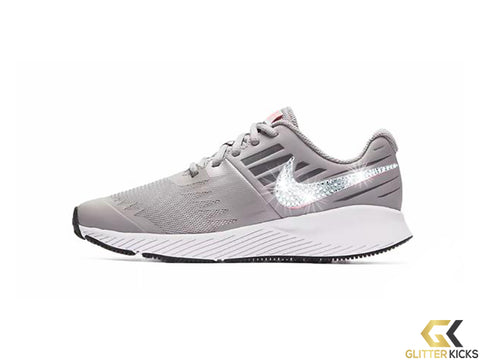 Girls' Nike Star Runner + Crystals - Grey - Big Kids' (3.5Y-7Y)