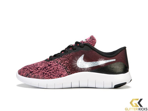 Girls' Nike Flex Contact + Crystals - Black/Pink - Big Kids' (3.5y-7y)