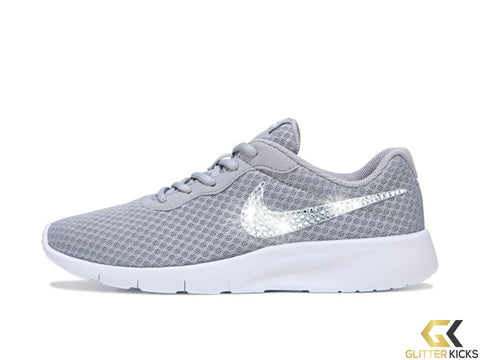 SALE - Girls' Nike Tanjun + Crystals - Grey/White - Big Kids' size 3.5Y