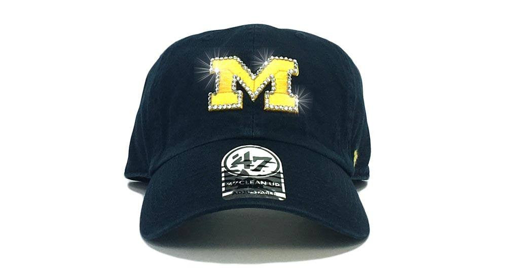 Michigan Wolverines '47 Brand Adjustable Cap + Custom Swarovski Crystals