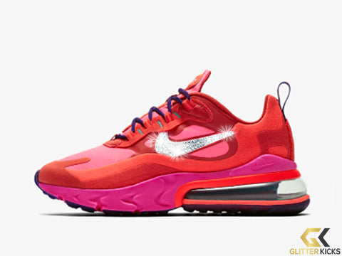 Nike Air Max 270 React + Crystals -Mystic Red/Pink Blast/Habanero Red/Bright Crimson