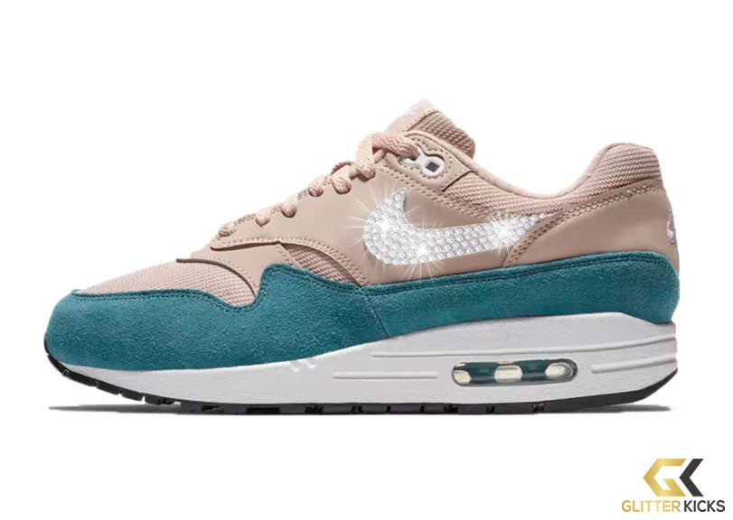 Nike Air Max 1 + Crystals - Celestial Teal Particle Beige – Glitter ... 85577eaa32