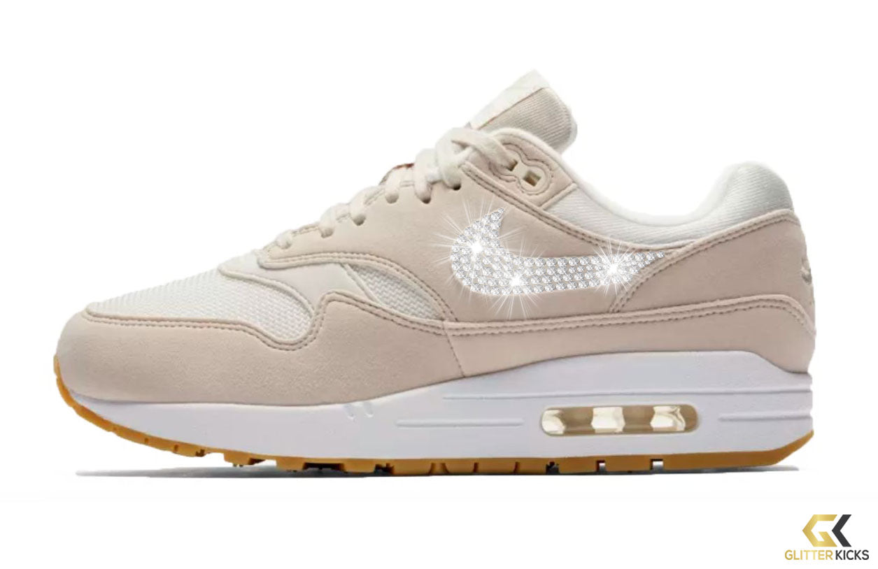 Nike Air Max 1 + Crystals - Desert Sand Gum Light Brown – Glitter Kicks 4fcddcda0991