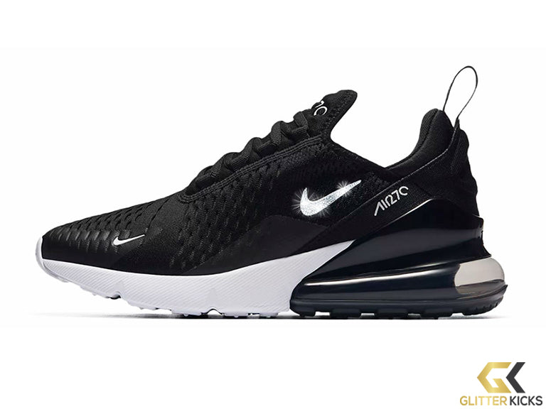 Nike Air Max 270 + Crystals - Black White – Glitter Kicks f82929590b2a