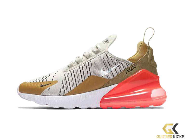 Nike Air Max 270 + Crystals - Flat Gold Light Bone – Glitter Kicks 27fd154104